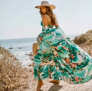Boho Floral Print Open Front Cover Up